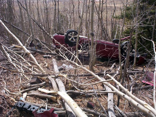 Stuck for six days ... Kristin Hopkins drove off the road and was trapped upside down.