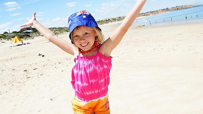 Grace Hardman, 7, enjoys the sun at Port Noarlunga.