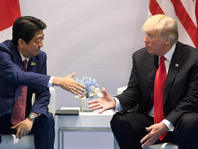 US President Donald Trump and Japan's Prime Minister Shinzo Abe have both called for tougher sanctions on North Korea after a nuclear test and missile was launched over Japan's mainland. Picture: AFP