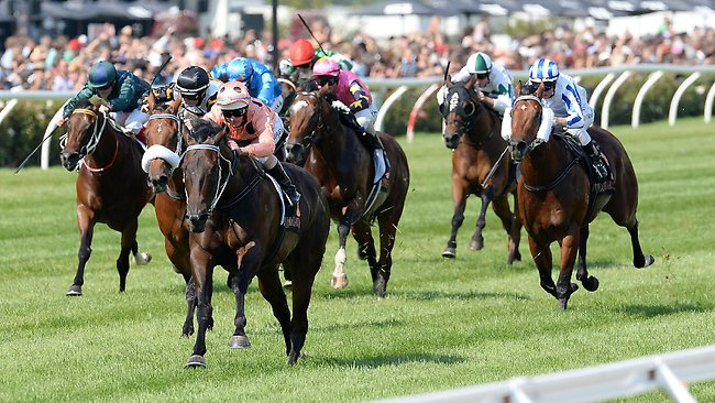 Black Caviar smashes the course record to trounce her rivals in the Lightning Stakes. Picture: George Salpigtidis