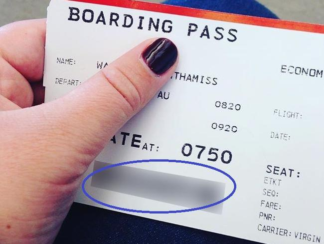 This passenger hid her full name but left the barcode in full view. Picture: Steve Hui
