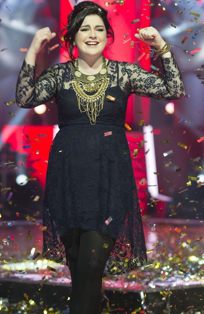 Karise Eden celebrates after being named the winner of Channel 9 reality TV series  <i>The Voice </i>