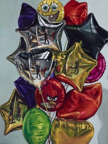 'Four Self-portraits in a Bunch of Balloons,' Peter Churcher, artist, self-portrait.