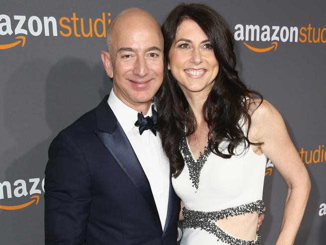 Amazon Founder/CEO Jeff Bezos (L) and wife MacKenzie Bezos attend Amazon Studios Golden Globes Celebration at The Beverly Hilton Hotel on January 8, 2017. Picture: Joe Scarnici/Getty Images for Amazon