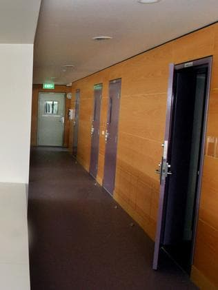 Prison cells off a shared kitchen area in one of the blocks at Dillwynia Women's Correctional Centre in western Sydney where Amy Sharp is being held on remand. Picture: News Corp