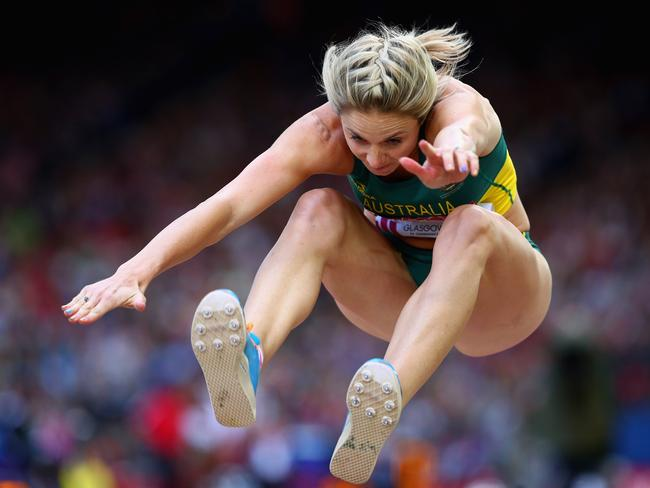 Linda Leverton of Australia competes in the Women's Triple Jump final.