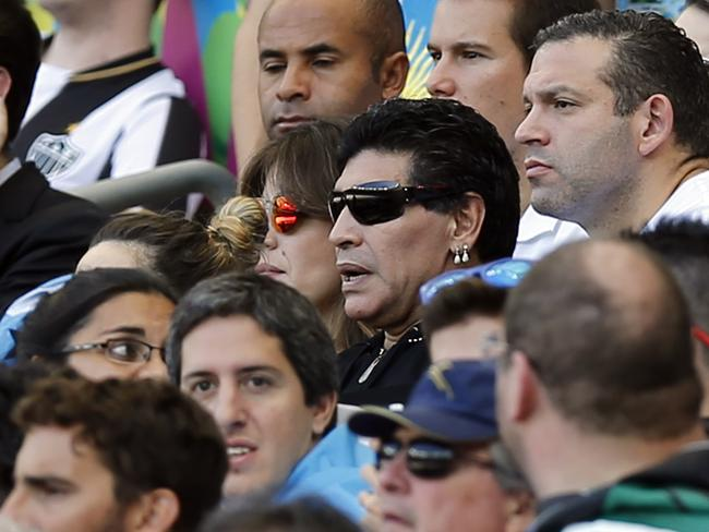 Argentine soccer legend Diego Maradona watches Argentina at the World Cup.