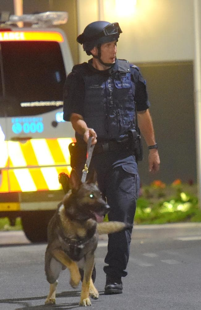 More than 35 police were brought in, including the public order response team and dog squad. Picture Tony Gough
