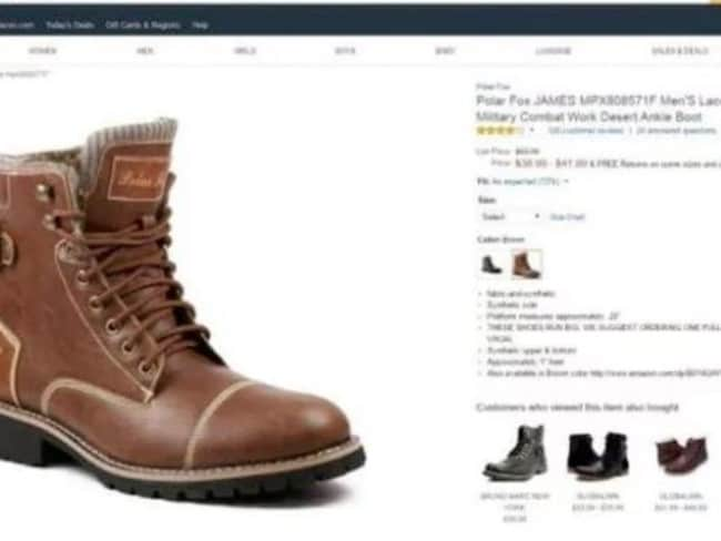 The boots were for sale on Amazon, but have been withdrawn. Picture: Amazon