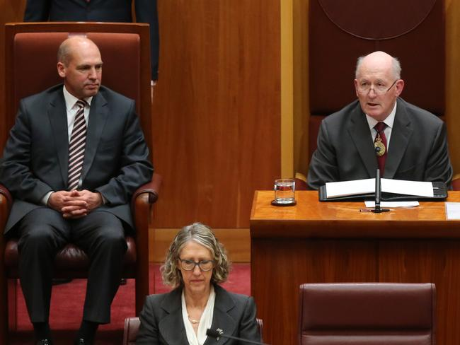 Governor General Sir Peter Cosgrove with President Stephen Parry. Picture: Ray Strange