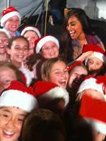 Jessica Mauboy performing all i want for christmas is you for fans at bathurst train station for the Indian Pacifics annual Outback Christmas train from sydney to Perth. Picture: Moran Jonathon
