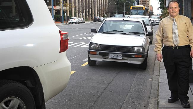 Tony Francesca of Hectorville, was fined for stopping his car to reverse parallel park on Grenfell Street, outside Crown & Anchor hotel.
