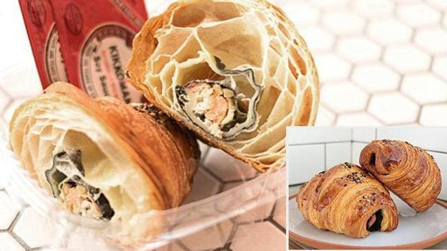 The croissant is stuffed with fish wrapped in seaweed.