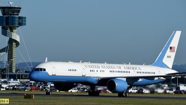 Air Force Two last visited Sydney in July 2016, carrying then US Vice President Joe Biden. It arrived in Sydney on Friday night with current US Vice President Mike Pence. Picture: AAP Image/Dan Himbrechts.