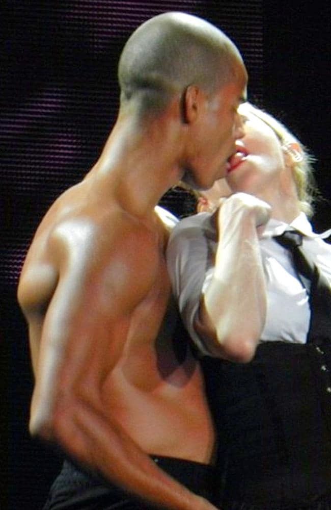 Madonna and her bare-chested ex boyfriend Brahim Zaibat. Picture: AKM-GSI