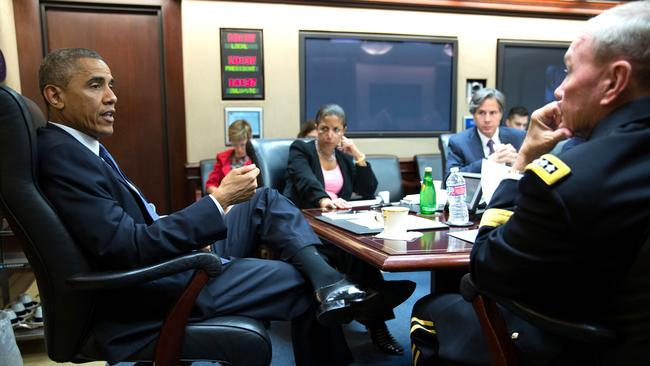 President Barack Obama meets with the National Security Council in the Situation Room of the White House. Picture: AP/Pete Souza
