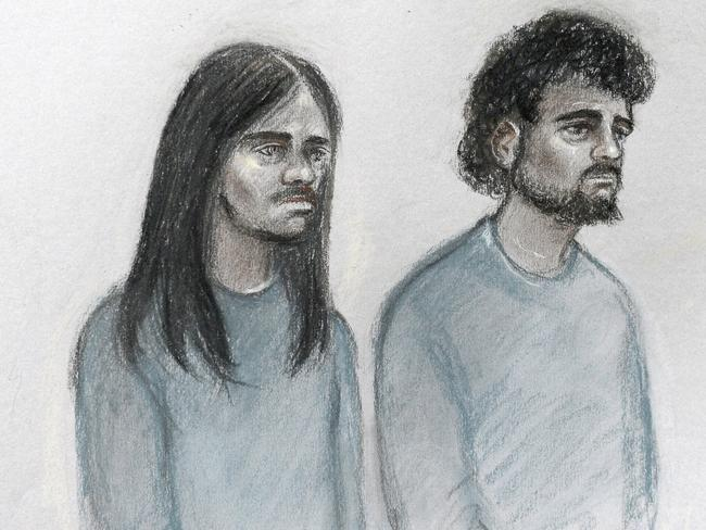 Naa'imur Zakariyah Rahman, left, and Mohammed Aqib Imran were in court on charges they plotted to assassinate Prime Minister Theresa May. Picture: Elizabeth Cook/PA via AP.