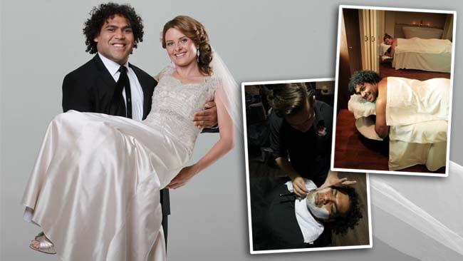 Sam Thaiday with wife Rachel Thaiday during their wedding