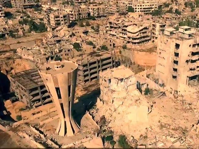 Dead zone ... No building remains untouched by the Syrian civil war.