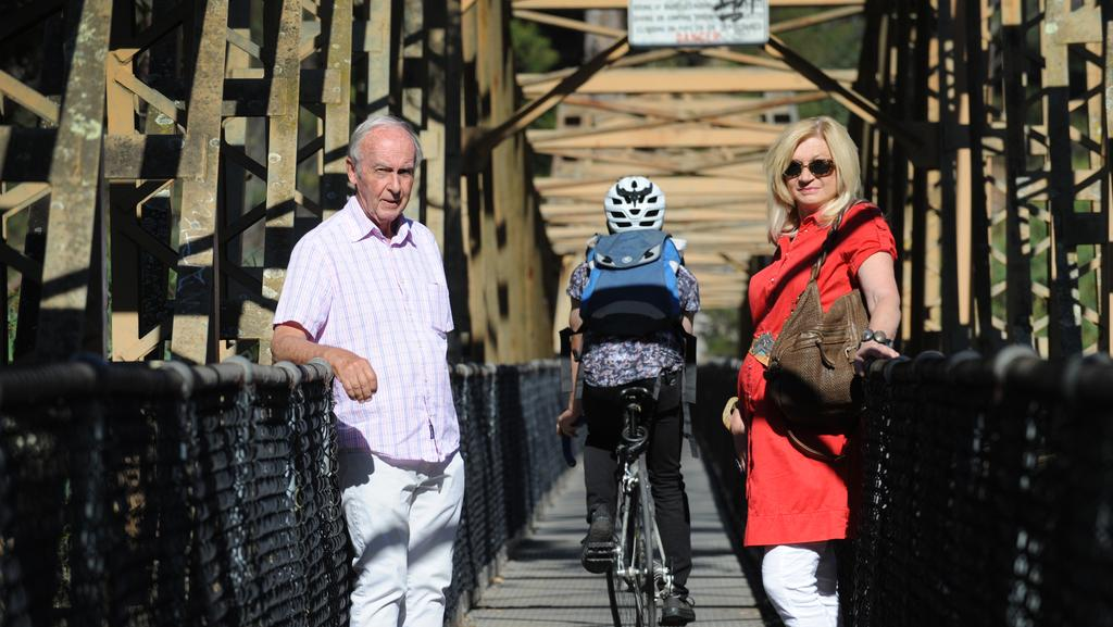 Jim McDonald and his partner Dorothy Abadoura on the bridge where the incident occurred. Picture: Andrew Henshaw