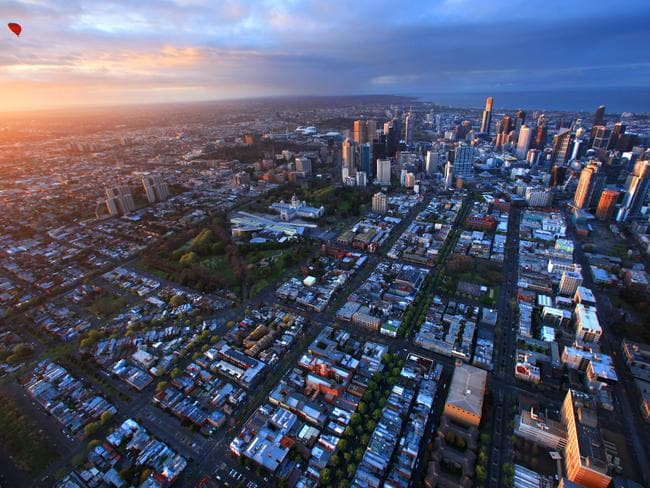 Melbourne from the air. Picture: Alex Coppel