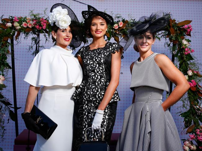 Myer Fashions on the Field Women's Racewear competition winner Gunita Kenina and Runners Up Stacey Hanley and Tanya Lazarou.