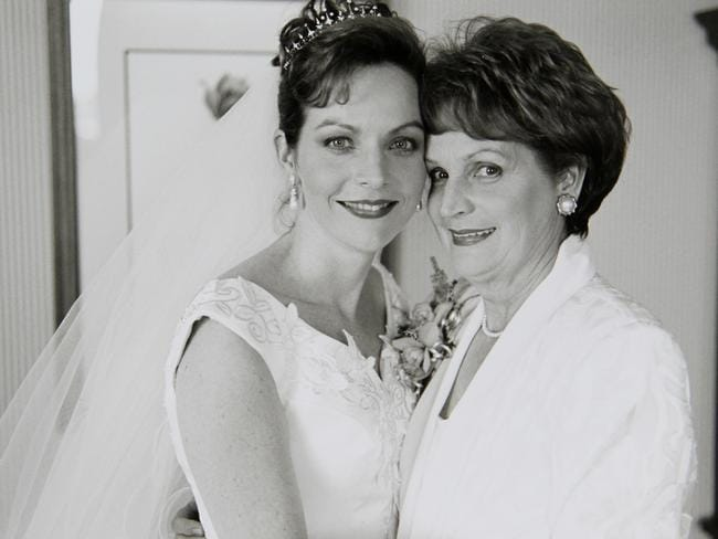 Allison on her wedding day with her mum Priscilla Dickie.