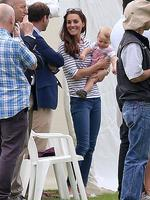 <p>Mum doesn't seem to get that the most fun is had crawling on the grass! Catherine, Duchess of Cambridge and her son Prince George attend the Royal Charity Polo during the Maserati Jerudong Trophy at Cirencester Park Polo Club. Picture: Getty</p>