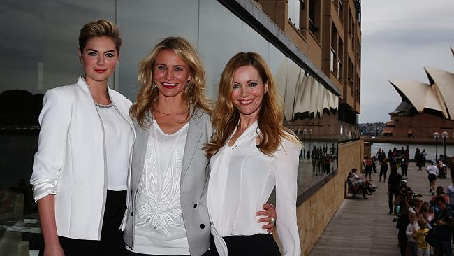 Kate Upton, Cameron Diaz and Leslie Mann pose during a photo call for their new film The Other Woman in front of the Sydney Opera House at the Park Hyatt Hotel, Sydney. Pic Brett Costello