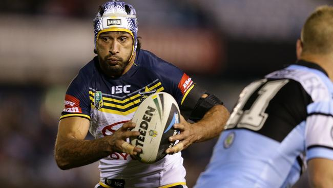 Johnathan Thurston's move to halfback continued to gather steam against the Sharks. Pic: Brett Costello