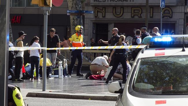 The aftermath of the attack in Barcelona. Picture: Getty