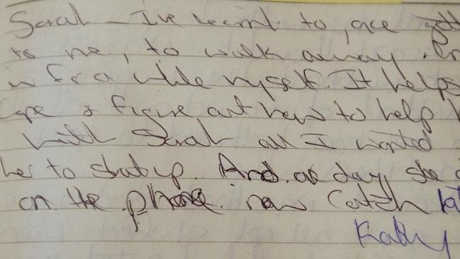 Folbigg's 1997 diary entry in which she writes about her third child, daughter Sarah, who died aged 10 months in 1993.
