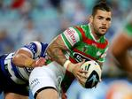 South Sydney's Adam Reynolds looks to offload during the NRL game between the Canterbury Bankstown Bulldogs and the South Sydney Rabbitohs at ANZ Stadium. Picture Gregg Porteous