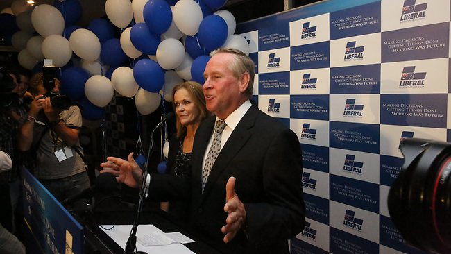 A beaming Premier Colin Barnett claims victory in the WA state election. Picture: Bohdan Warchomij