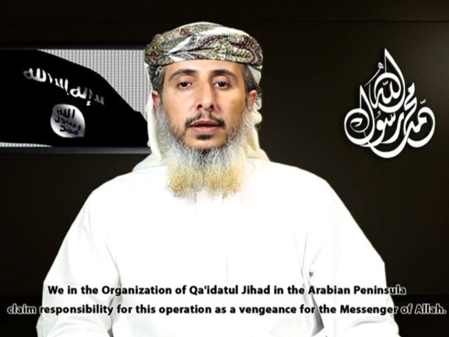 On video ... Nasr al-Ansi in a still taken from a propaganda video posted online by Al-Malahem Media, the media arm of Al-Qaeda in the Arabian Peninsula (AQAP). Picture: AFP