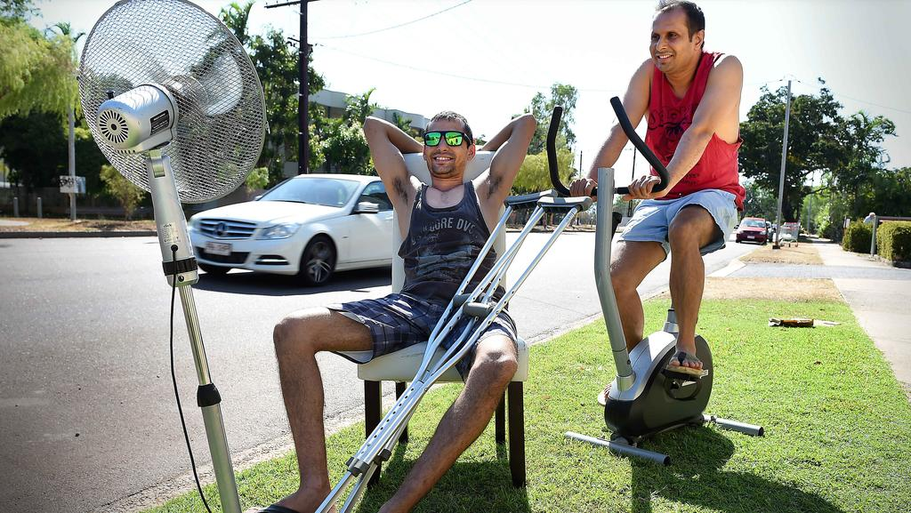 David Smith and mate Dab Shah try out some discarded household items. PICTURE: Patrina Malone