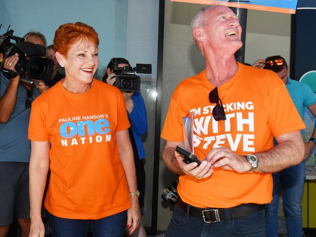 One Nation Leader Senator Pauline Hanson and Queensland One Nation leader Steve Dickson at a polling station in Buderim...The One Nation factor at this election could be significant.