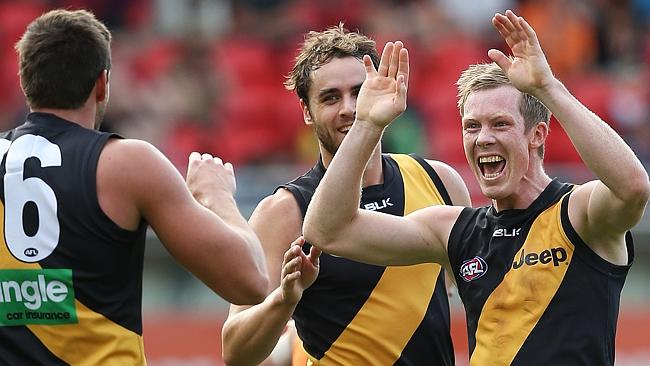 Tiger Jack Riewoldt celebrates one of his 11 goals against GWS Giants. Picture: Phil Hillyard
