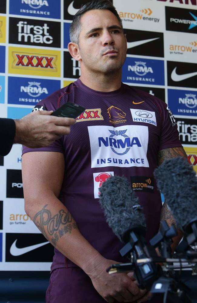 Corey Parker speaking at a media conference during a Brisbane Broncos training session.