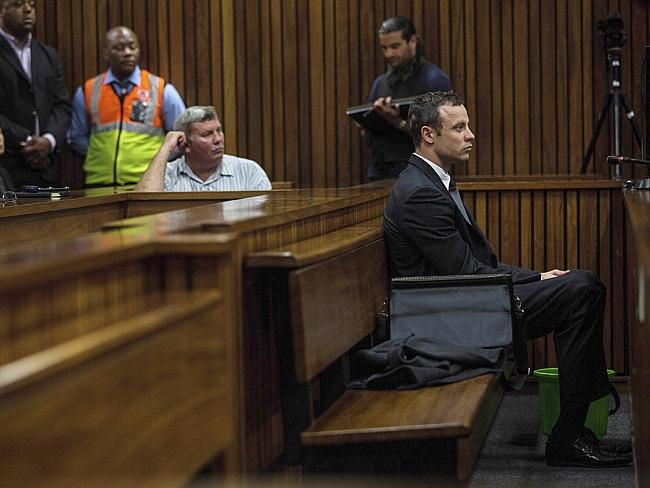 Lonely vigil ... Oscar Pistorius at the Pretoria High Court. Picture: Kevin Sutherland/The Times/Gallo Images