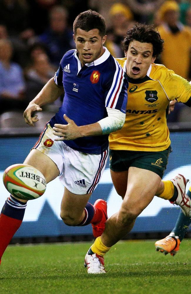 Matt Toomua was deemed to have made contact with France fullback Brice Dulin while chasing the ball.