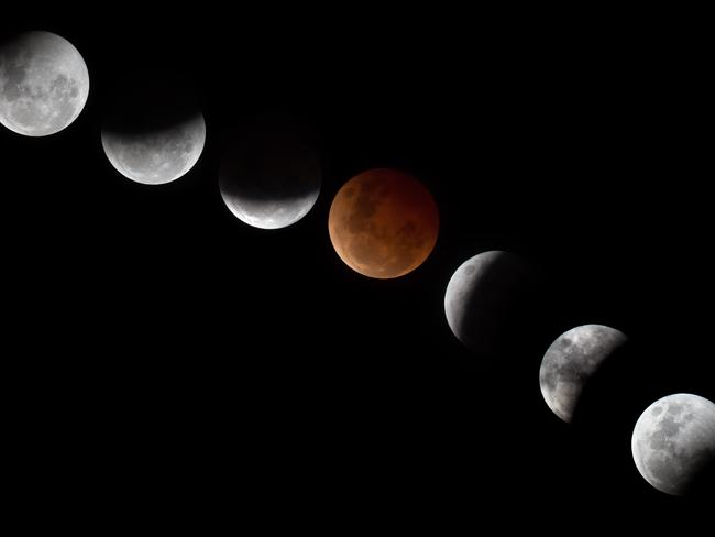 Night sky ... the sequences of the Lunar Eclipse overnight. Picture: Jay Town