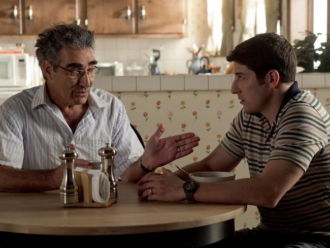Never going to grow up ... Jason Biggs with Eugene Levy in a scene from film American Pie: Reunion.