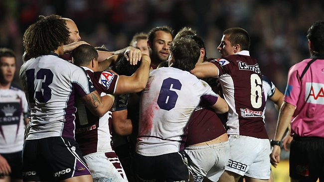 There's plenty of history between the players of the Manly Sea Eagles and the Melbourne Storm. Picture: Brett Costello