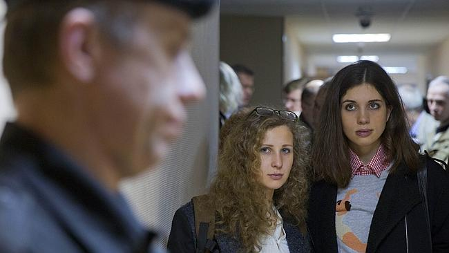 Two former members of anti-Kremlin Russian punk group Pussy Riot, Nadezhda Tolokonnikova (right) and Maria Alyokhina, Picture...