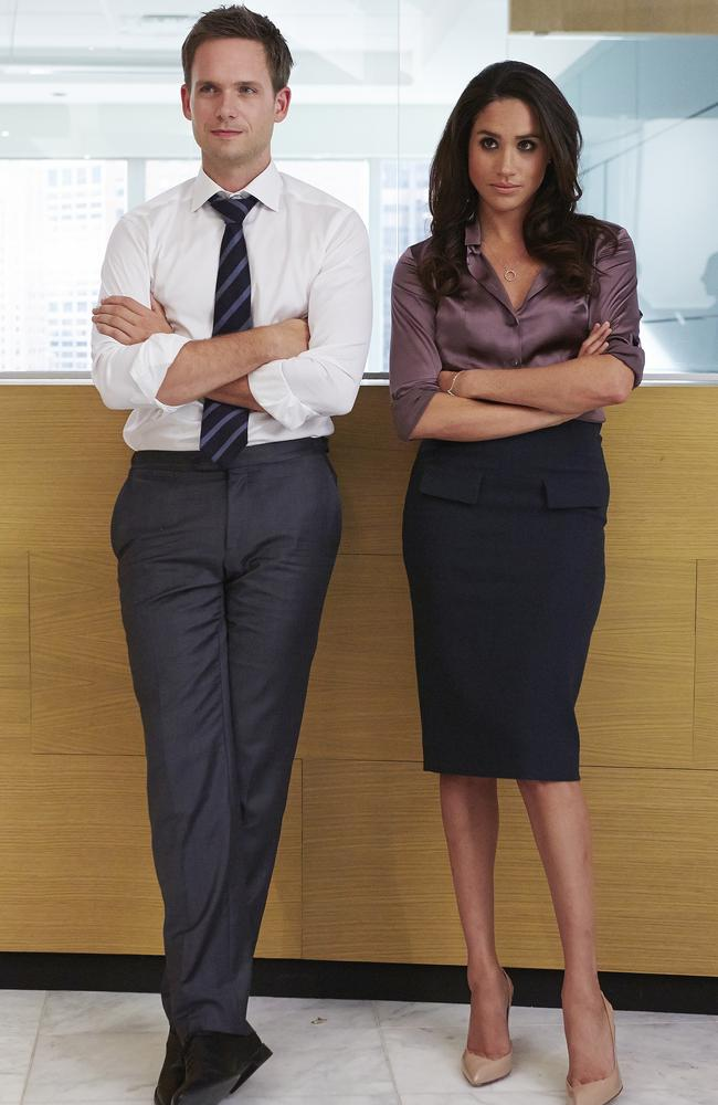 Patrick J. Adams as Mike Ross and future royal Meghan Markle as Rachel Zane in a scene from Suits. Picture: Getty Images