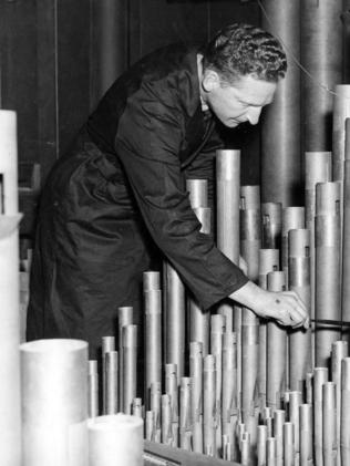 Mr Palmer also cleaned the pipes of the Melbourne Town Hall organ. Picture: Herald Sun Image Library/ ARGUS