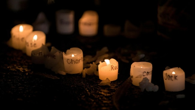 Candles with the names of victims of the Sandy Hook Elementary school shooting. Photo: BRENDAN SMIALOWSKI/AFP/Getty Images