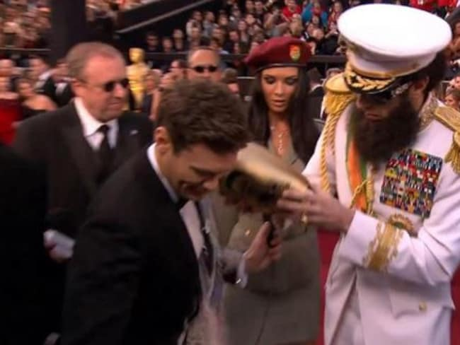 Oops ... Baron Cohen invoked the ire of Seacrest after the 'ash incident' at the 2012 Oscars. Picture: E!