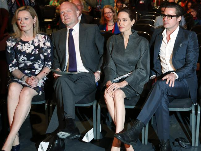 Co-host ... British Foreign Secretary William Hague, second left, Jolie, alongside her partner Brad Pitt, attend the 'End Sexual Violence in Conflict' summit in London. Picture: Lefteris Pitarakis